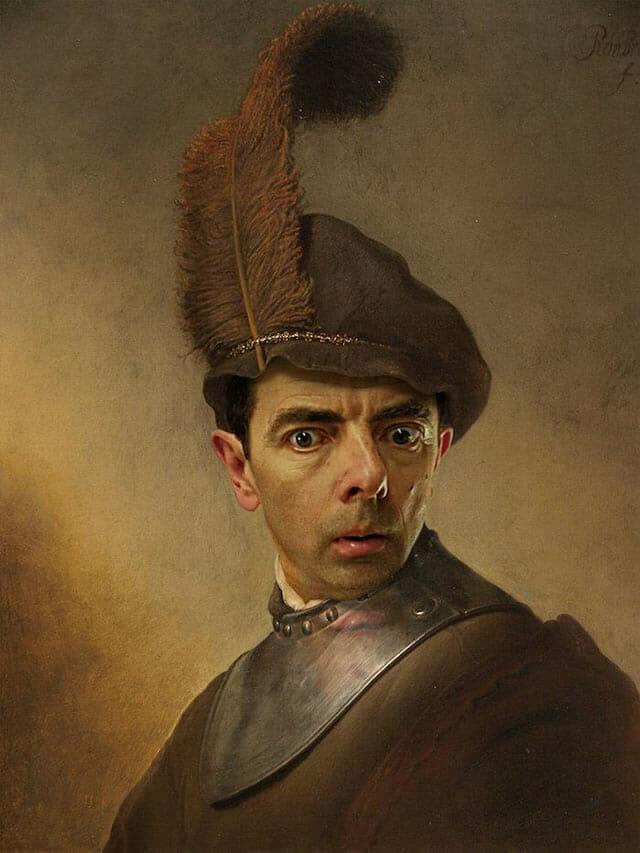14 Pinturas históricas engraçadas que tiveram suas faces trocadas pela do Mr. Bean