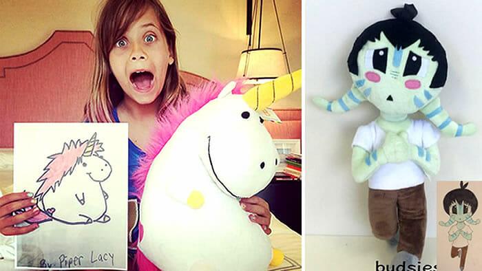 Empresa transforma desenhos criativos de crianças em pelúcias superlegais