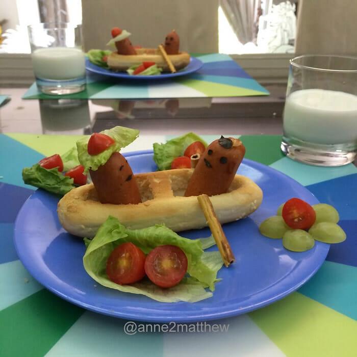 Mãe faz histórias criativas com hotdogs para o café da manhã de seus filhos (10 Fotos)