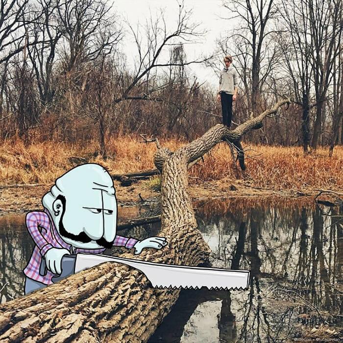Ilustrador faz desenhos engraçados em fotos de desconhecidos no Instagram (19 Imagens)