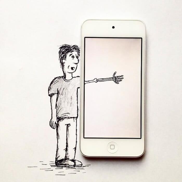 Artista de 17 anos cria ilustrações interativas superlegais com objetos do cotidiano