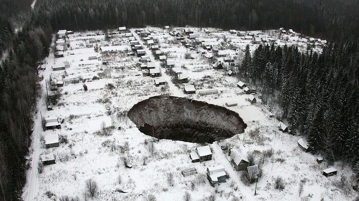 Crateras siberianas - Pesquisadores ainda buscam respostas sobre o que causou o aparecimento delas Imagem: TASS / ZUMA WIRE
