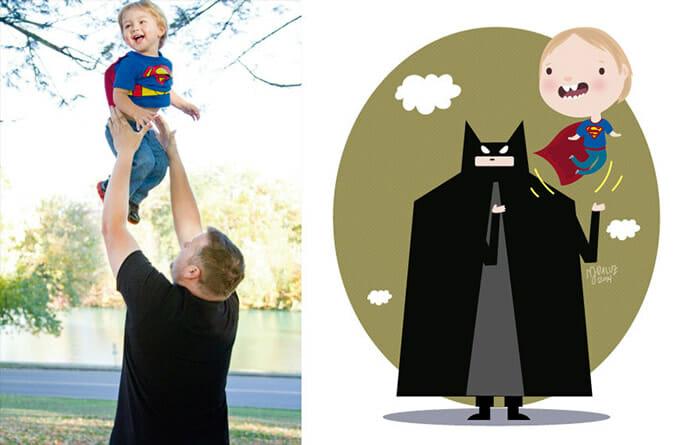 17 Fotos fofas de crianças da internet transformadas em desenhos bonitinhos