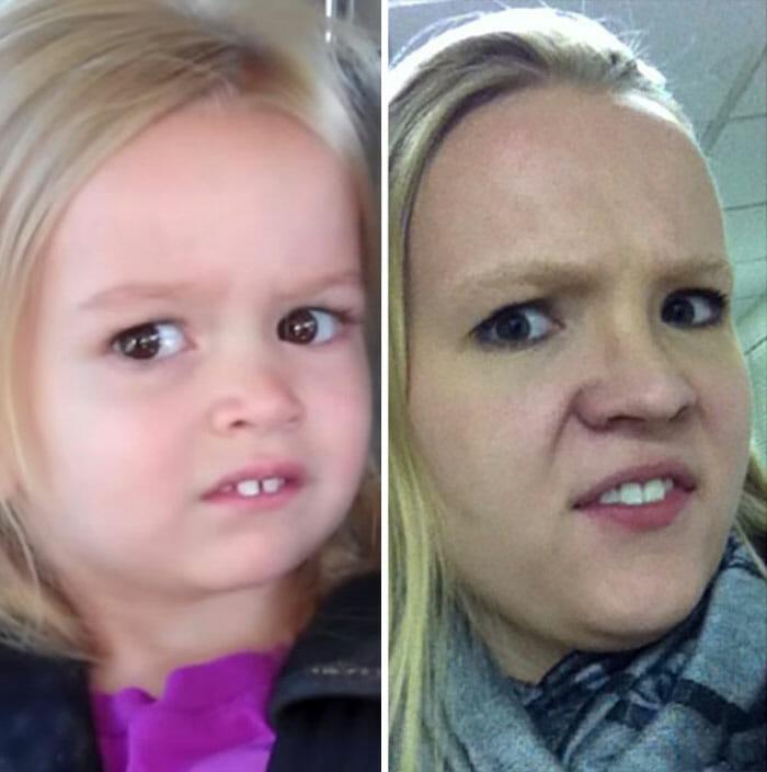 17 Fotos engraçadas da garota que ficou famosa imitando caretas de celebridades