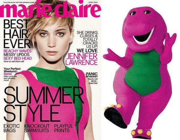 Quem veste melhor a mesma roupa:  Jennifer Lawrence ou Barney?