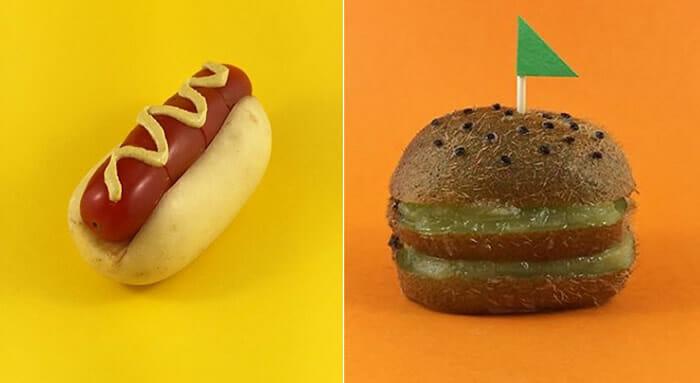 Artista transforma frutas e legumes em cachorros-quentes, hambúrgueres e etc