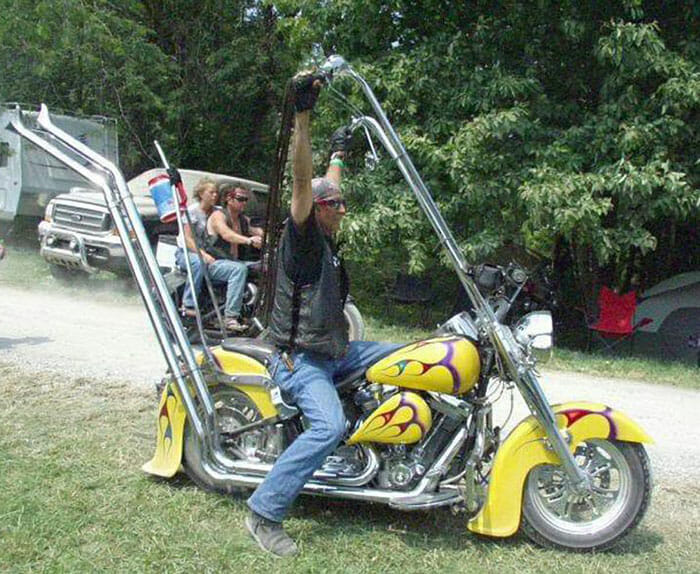 Yellow Motorcycle with Extremely High Apehanges