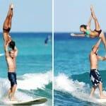 O que acontece quando dois ginastas resolvem surfar? Assista ao vídeo