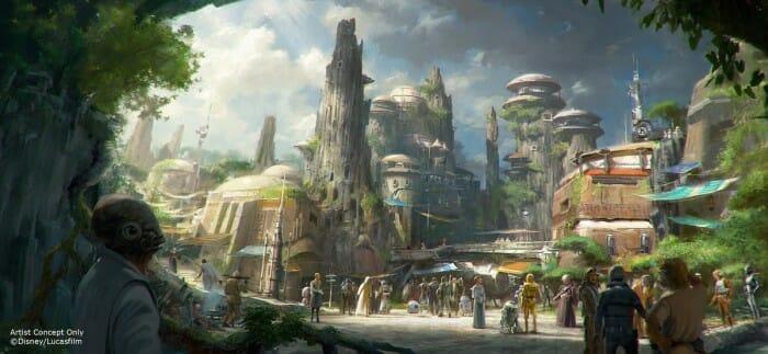 Representação conceito de um dos parques Star Wars Land. Imagem: Disney. (clique para ampliar)