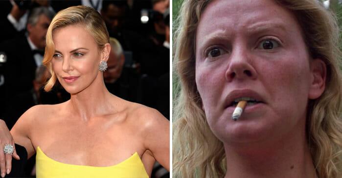 O antes e depois de Charlize Theron emMonster: Desejo Assassino (2003)