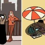21 Ilustrações ácidas de Jean Jullien satirizam os viciados em smartphones e redes sociais