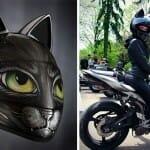 Nova moda na Rússia: Capacetes para motociclistas com orelhas de gato