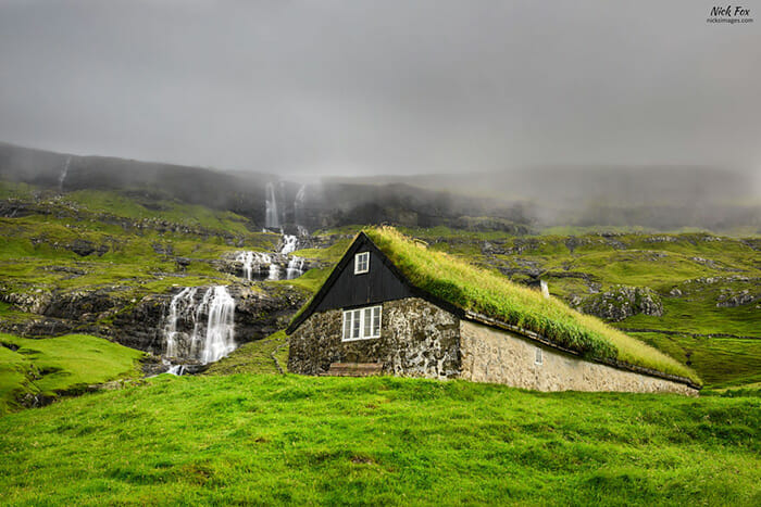 Historic stone house in Faroe Islands