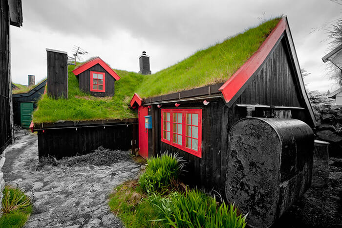 Far Oer downtown grass roof wood house F��r T�avn