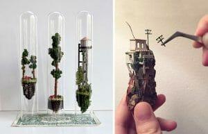Artista Constrói Incríveis Cenários em Miniatura Dentro de Tubos de Ensaio