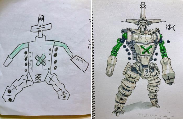 Pai Transforma Desenhos De Seus Filhos em Personagens Incríveis De Desenho Animado