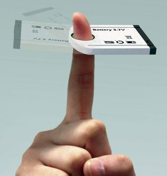 Bateria conceito pode ser recarregada com os dedos.
