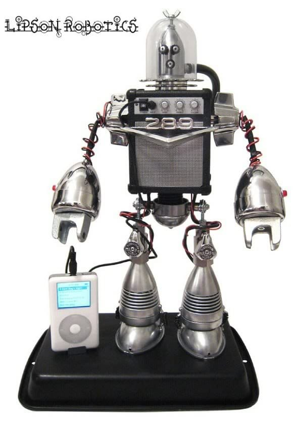 Um Robô Speaker para seu iPod ou MP3 Player.