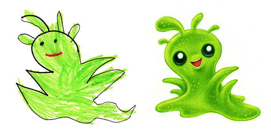 Artista Transforma Desenhos De Crianças Em Monstros Bonitinhos
