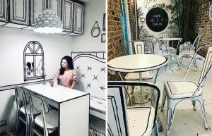 Decoração Incrível de Cafeteria Sul-Coreana Parece um Desenho de 2 Dimensões