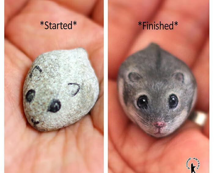 Pequenos animais fofos são pedras pintadas