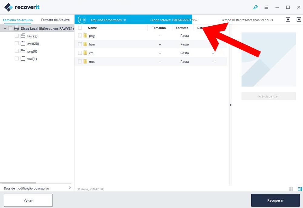 Usando software Recoverit - Passo 3