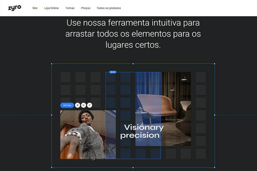 Zyro oferece construtor de sites com ferramentas intuitivas