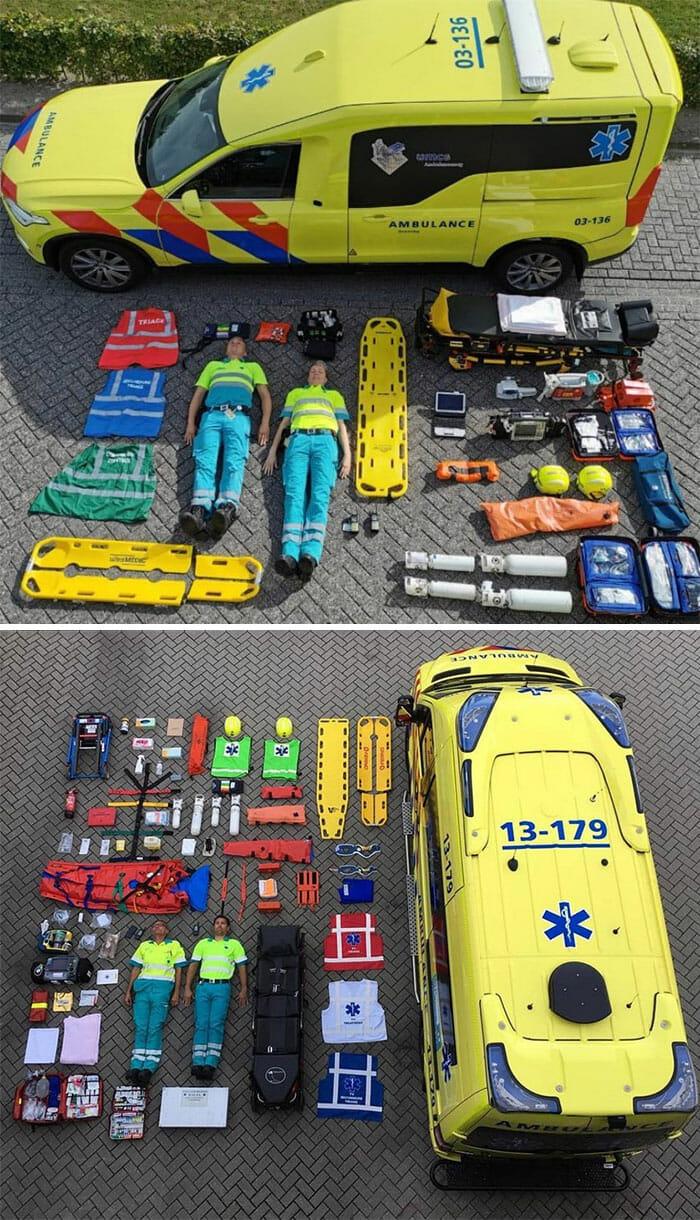 Fotografias em estilo knolling de ambulâncias da Holanda.